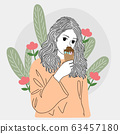 woman stood and ate ice cream at one of the public gardens in the city.Doodle art concept,illustration painting 63457180