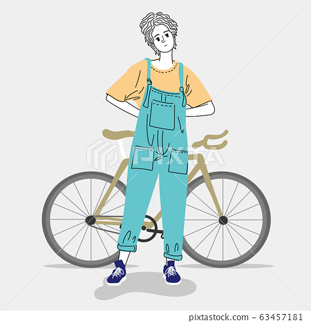 Woman standing outdoors in a city with her bike.Doodle art concept,illustration painting 63457181