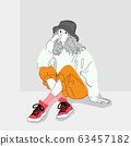 Women dressed in street fashion were sitting in one of the city walls.Illustration of a girl sitting on a wall. 63457182