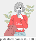 Illustration of a woman taking a selfie in the bathroom mirror.Doodle art concept,illustration painting 63457183