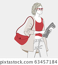 Women carrying newspapers and luggage in the outdoor courtyard.Doodle art concept,illustration painting 63457184