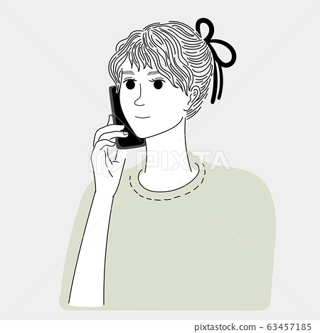 Woman talking on the phone with a friend.Doodle art concept,illustration painting 63457185
