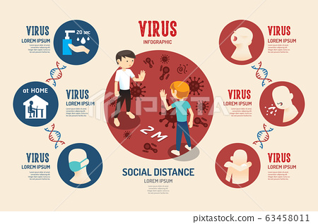 virus corona covid 19 Infographic geometric design 63458011