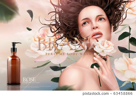 Rose body wash ads with a model 63458866