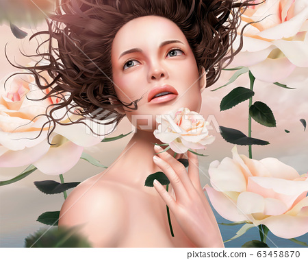 Flowy hair woman with roses 63458870