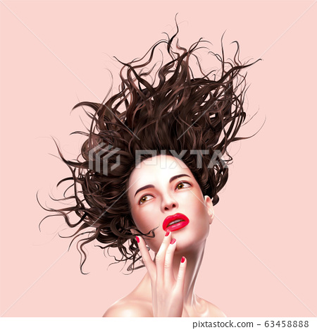 Trendy woman with flowing hair 63458888