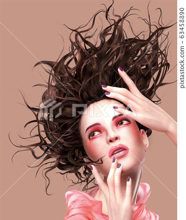 Pink makeup woman with flowing hair 63458890