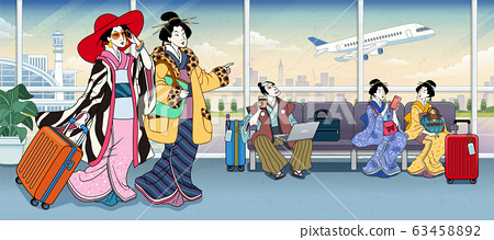 Ukiyo-e people in airport terminal 63458892