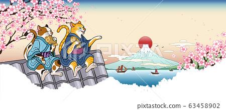 Tabby and calico cat in yukata 63458902