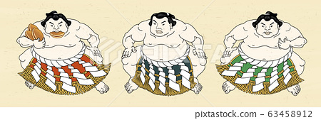 Three japanese sumo wrestler 63458912