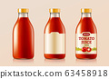 Tomato juice glass bottle and label 63458918
