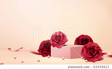 Romantic roses and pearl background 63458921