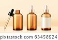 Brown droplet bottle mockup set 63458924