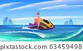 Young man ride aquabike, jet ski in sea 63459498