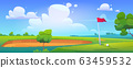 Golf course on nature landscape with ball on grass 63459532