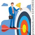 Businessman with trophy, dart target 63459603