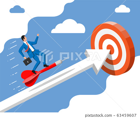 Businessman aim arrow to target. 63459607