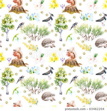 watercolor seamless pattern - spring, birds, squirrel Hedgehog Sketch 63462204