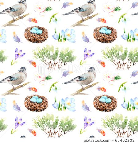 watercolor seamless pattern - spring, birds, chicks nest Sketch 63462205