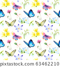 watercolor seamless pattern - spring flowers, first, butterfly Sketch 63462210