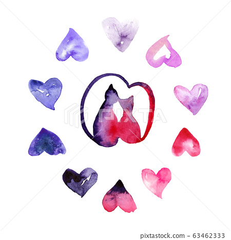 Valentine day watercolor drawings, cats and hearts, set 63462333