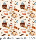 watercolor drawing coffee set, seamless pattern. Cappuccino, coffee, cake, coffee pot, coffee grinder croissant macaroons 63462724