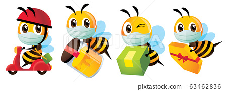 Cartoon cute bee wearing protective surgical mask for delivery to protect against disease and bacteria - Vector character mascot set 63462836