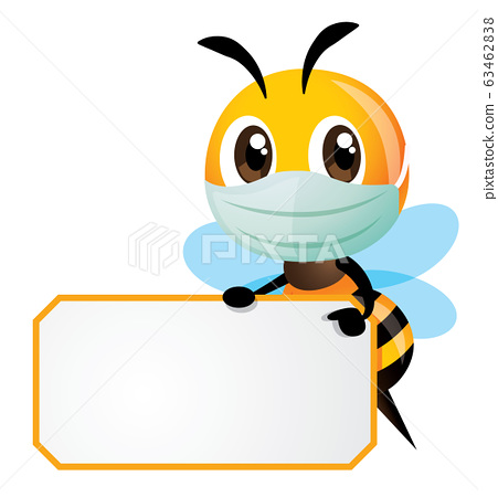 Cartoon cute bee wearing mask and holding a white empty signboard with yellow stripe - vector character 63462838