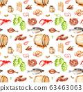 watercolor seamless pattern, beer set for oktoberfest Sketch 63463063