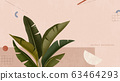 Leafs on pink geometric background 63464293
