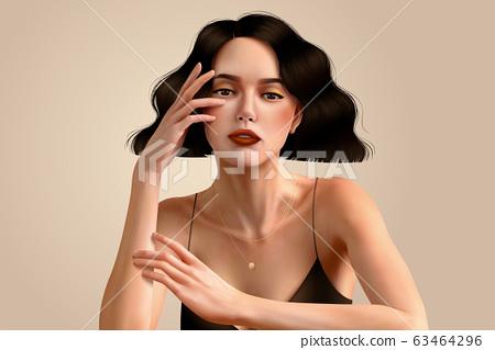 Elegant brunette woman 63464296