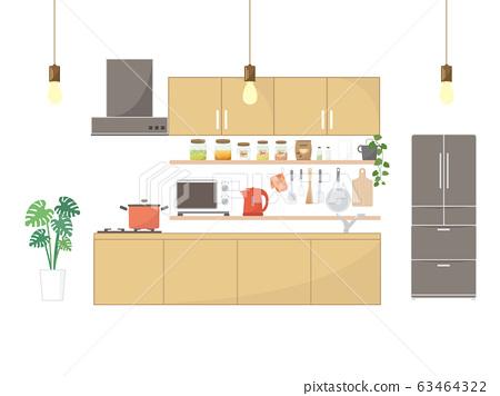 時尚廚房的插圖 63464322