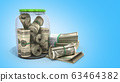 safe concept Many 100 US dollars bank notes in 63464382