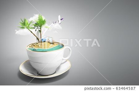Island in a cup of coffee Concept of travel 3d 63464587