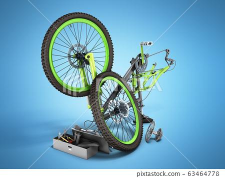 bicycle repair concept 3d render on blue 63464778