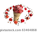 ice cream with raspberries and chocolate crumbs in 63464868