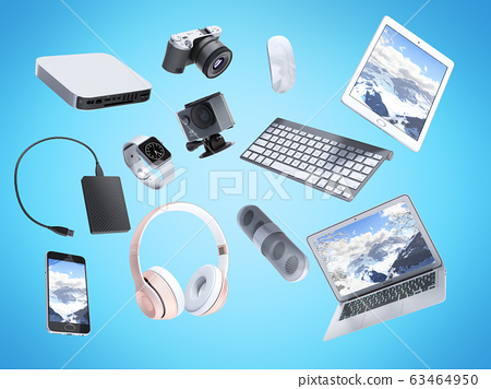 collection of consumer electronics flying in the 63464950