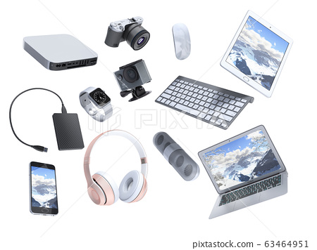 collection of consumer electronics flying in the 63464951