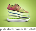 Pair of pink sport shoes by layers 3d render on 63465040