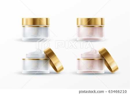 Set of 3d realistic jar for cream isolated on white background. Mockup for product package branding. Vector illustration 63466210