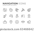 Navigation Line Icons Set 63466642