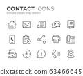 Contact Line Icons Set 63466645