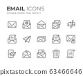 Email Line Icons Set 63466646