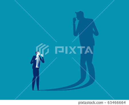 Person fighting his own shadow. Self-defeating 63466664