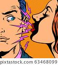 a woman sneezes at a man 63468099