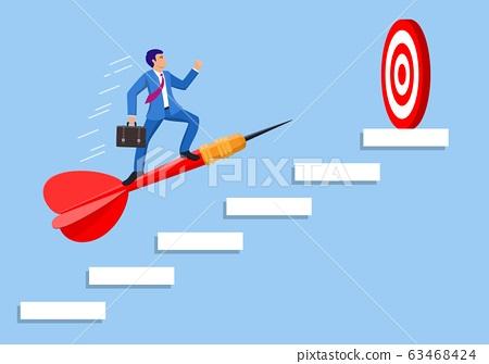 Businessman aim arrow to target 63468424