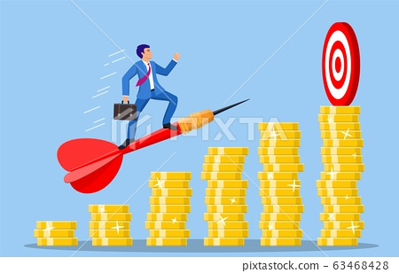 Businessman aim arrow to target 63468428