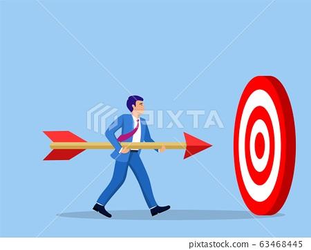 Businessman aim arrow to target. 63468445
