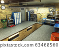 View of a Garage 3D Interior 3D Rendering 63468560