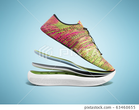 Pair of pink sport shoes by layers 3d render on 63468655